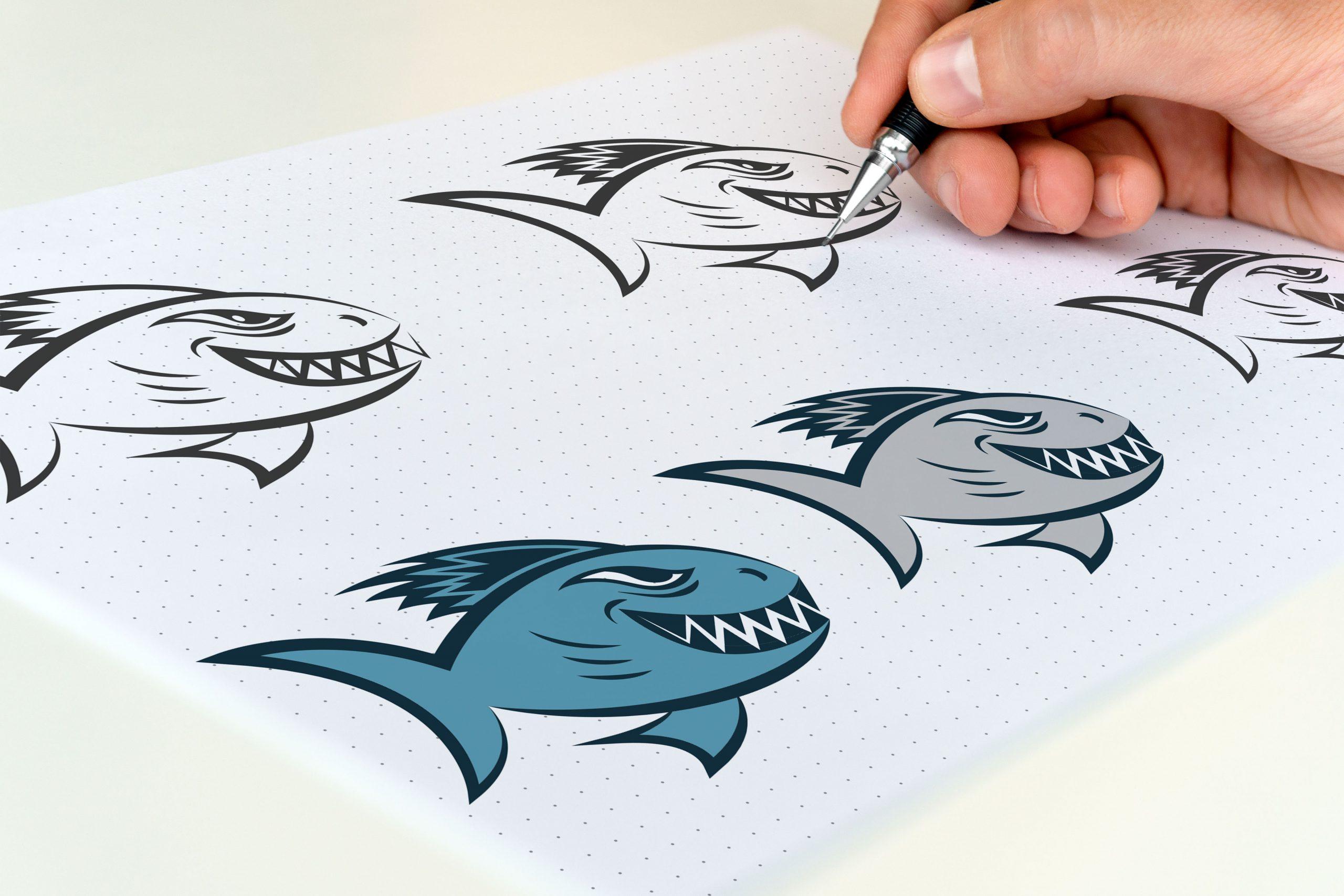 logo z rybą pirania